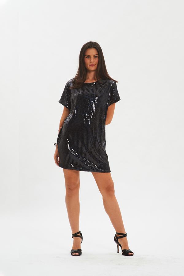 vestito nero da sera in paillettes fisto firenze
