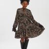 vestito donna pattern fantasia, oppure nero, altezza ginocchio, manica lunga fisto firenze